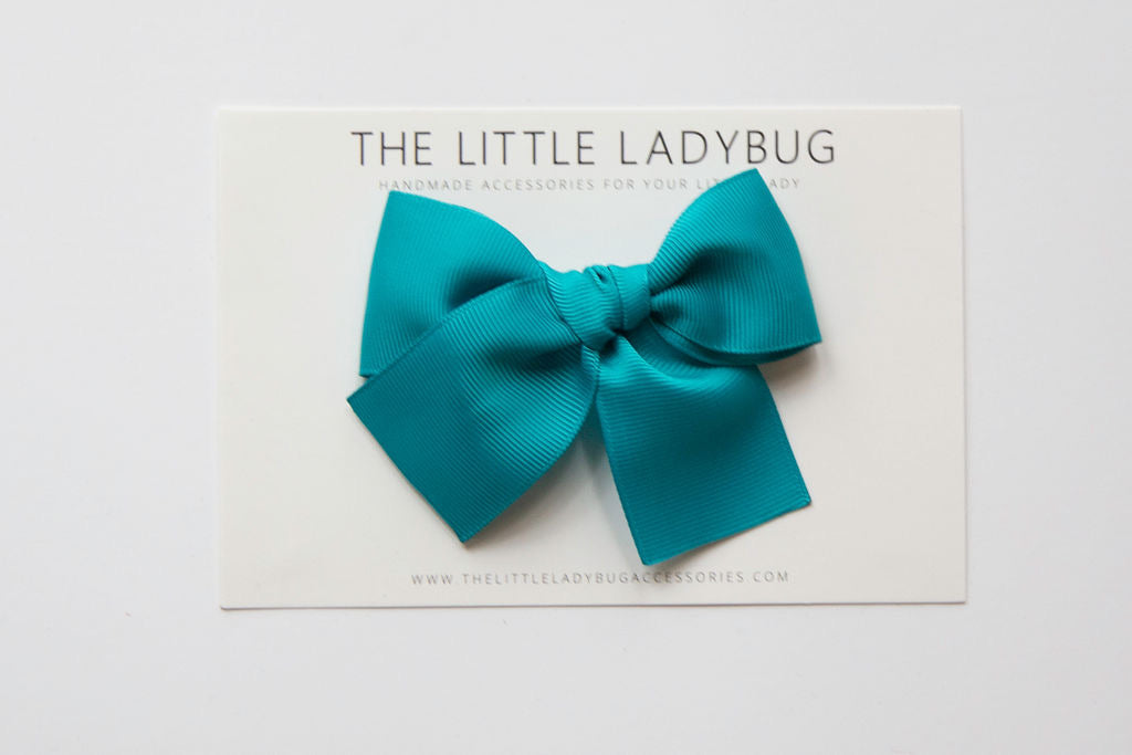 Teal Blue Hand-Tied Ribbon Bow
