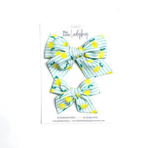 Blue-Green Stripes with Lemons Hand-Tied Fabric Bow