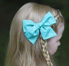 Teal with White Flower Stitch Hand-Tied Fabric Bow