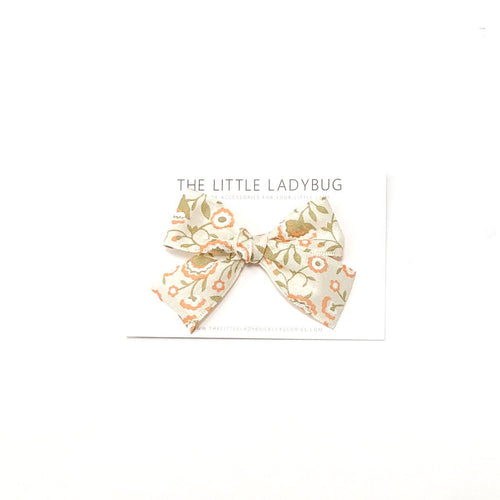 Light Tan with Peach Flowers Hand-Tied Ribbon Bow