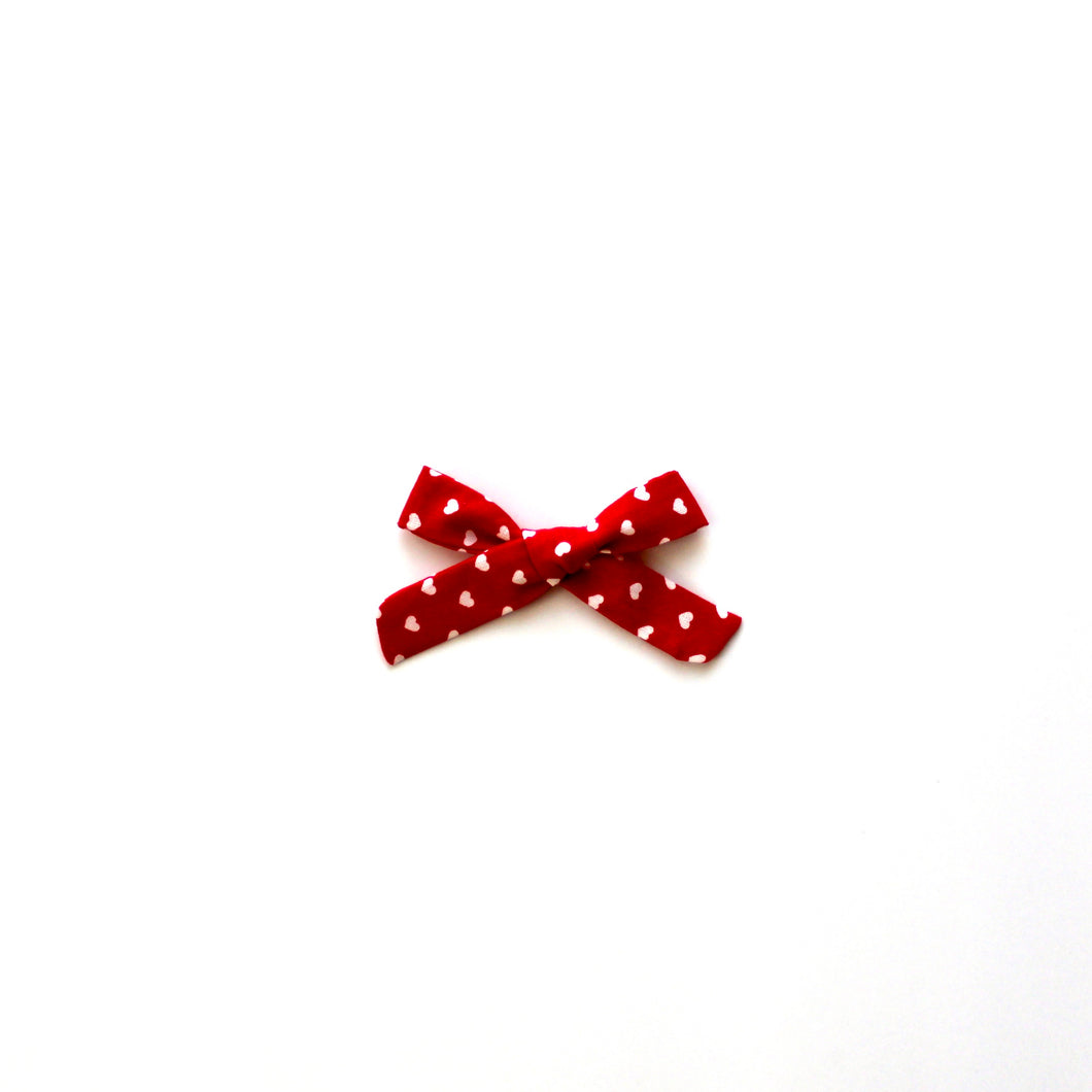 Red with White Hearts Hand-Tied Jane Bow