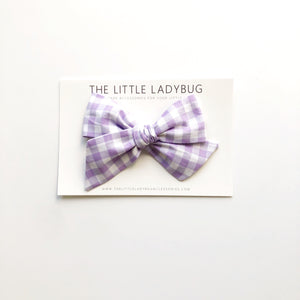 Lavender Gingham Hand-Tied Fabric Bow