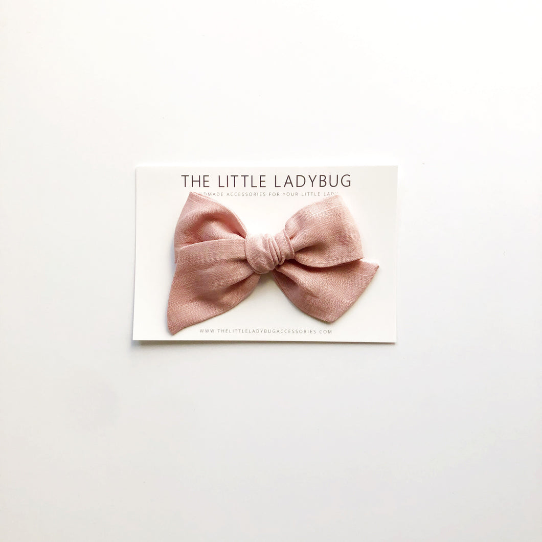 Blush Pink Linen Hand-Tied Fabric Bow