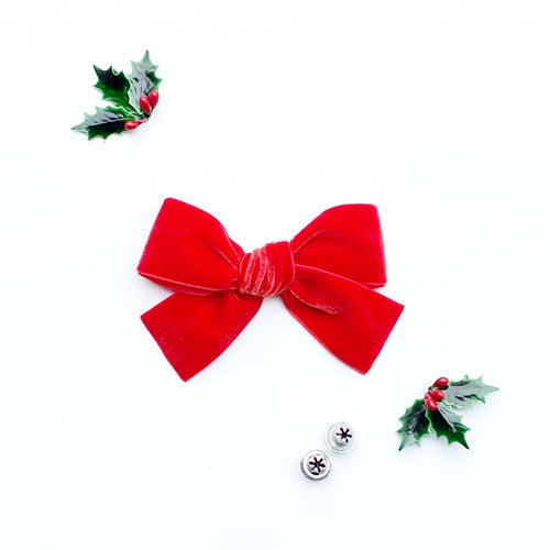 Red Hand-Tied Velvet Bow