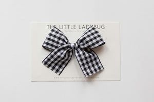 Set of Three Hand-Tied Ribbon Bows in Black, Light Pink, and Black Gingham
