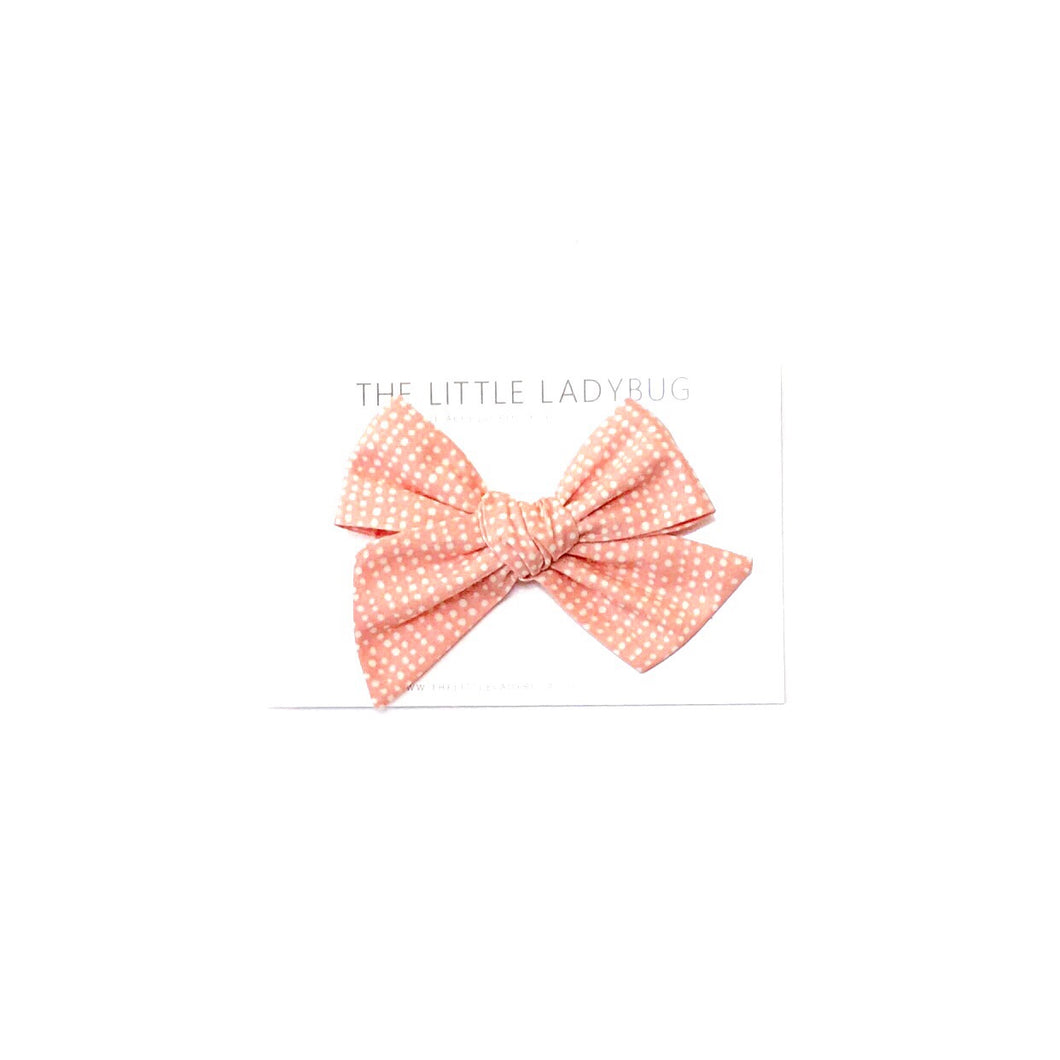 Coral Dot Hand-Tied Fabric Bow