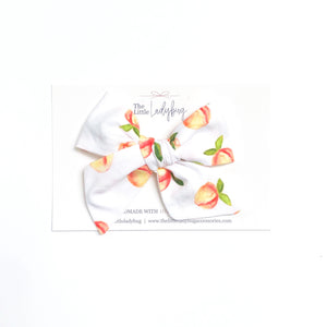 Set of Three Hand-Tied Fabric Bows in English Garden, Creamy Peach with Cross-Stitch Detail and White with Peaches