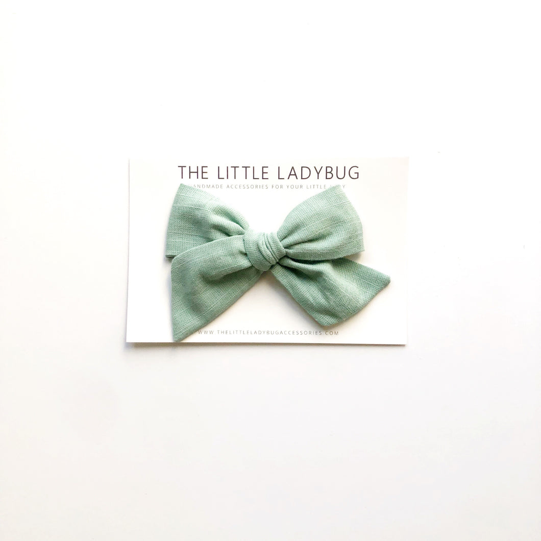 Stone Blue Linen Hand-Tied Fabric Bow