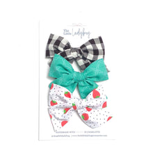 Set of Three Hand-Tied Fabric Bows in Black and White Gingham, Teal with White Flower Stitch and Strawberry Polka Dot
