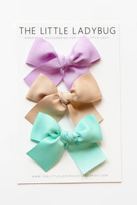 Set of Three Hand-Tied Ribbon Bows in Aqua Blue, Tan, and Lavender Purple