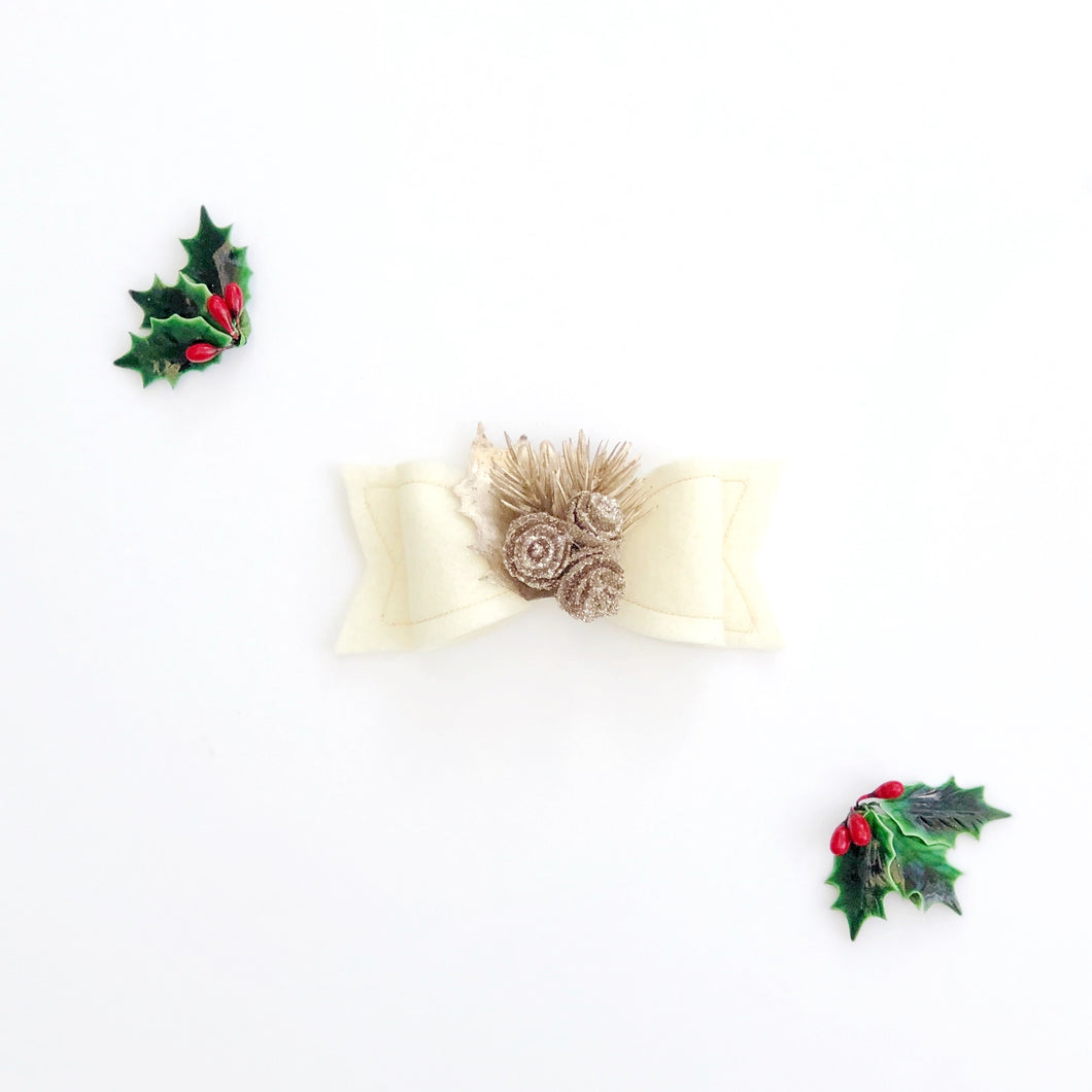 Silent Night Wool Felt Embellished Luxe Bow