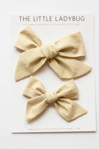 Gold Glitter Hand-Tied Fabric Bow