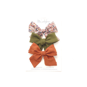 Set of Three Hand-Tied Fabric Bows in Wiltshire Bud, Waffle Olive Green and Pumpkin Spice Swiss Dot