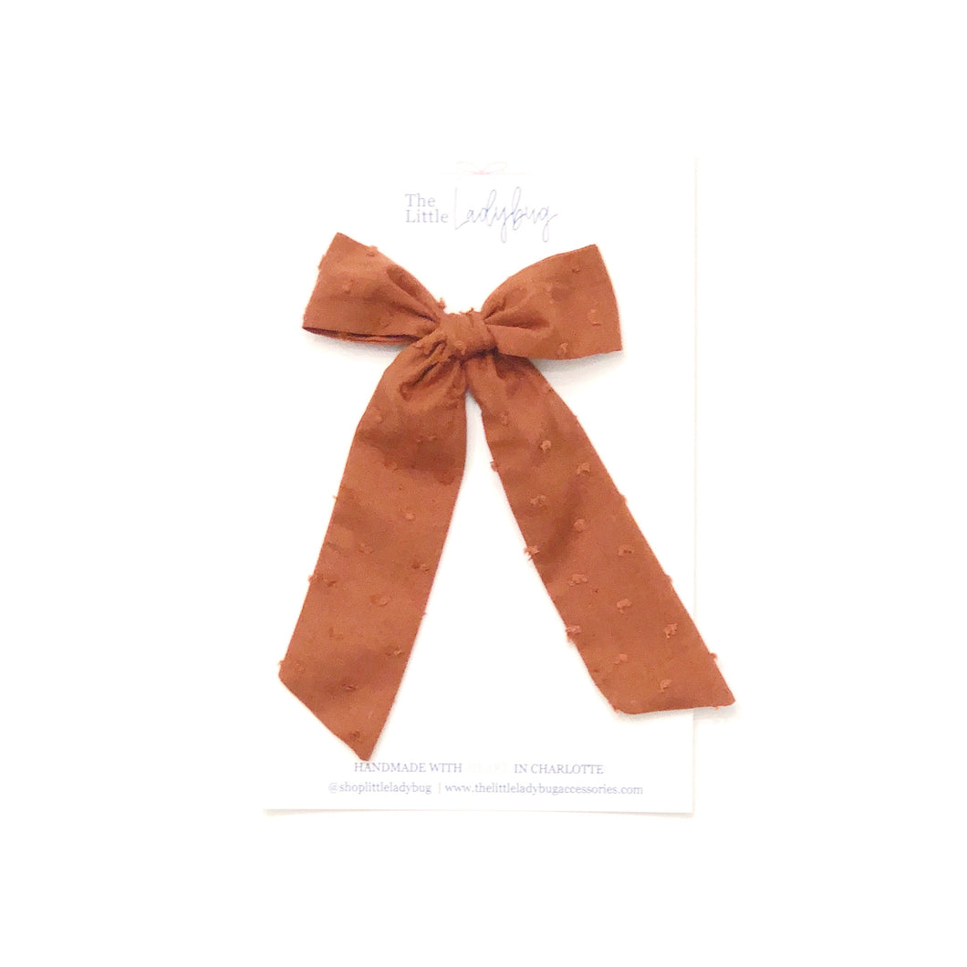 Pumpkin Spice Swiss Dot Hand-Tied Fabric Lily Bow