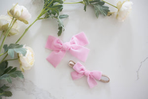 Light Pink Hand-Tied Velvet Bow