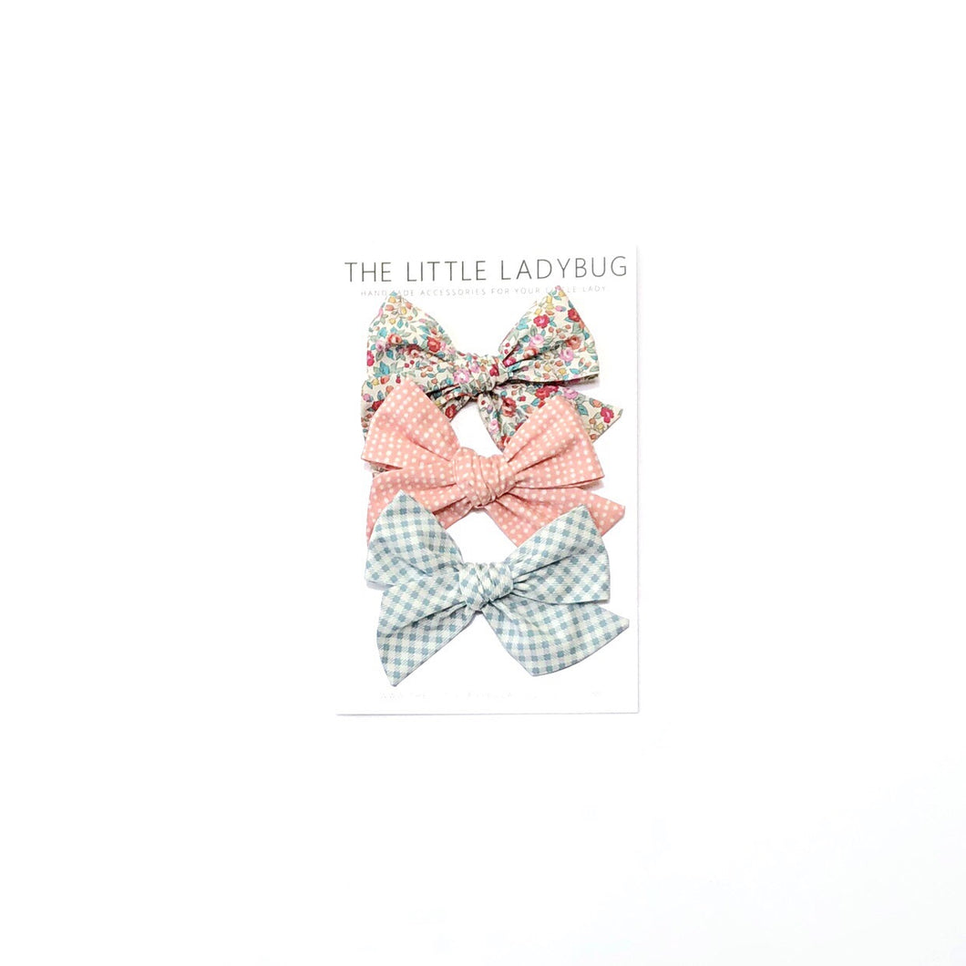Set of Three Hand-Tied Fabric Bows in Vintage Summer Floral, Coral Dot and Creamy Blue Check