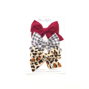 Set of Three Hand-Tied Fabric Bows in Burgundy, Smoke Gray Check and Leopard Corduroy