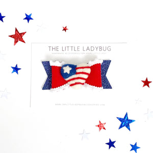 Patriotic Heart Embellished Felt Luxe Bow