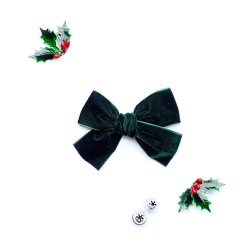 Dark Green Hand-Tied Velvet Bow