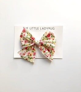 Set of Three Hand-Tied Ribbon Bows in Powder Blue Floral, Gold Dots Woven Ivory and Forever Floral