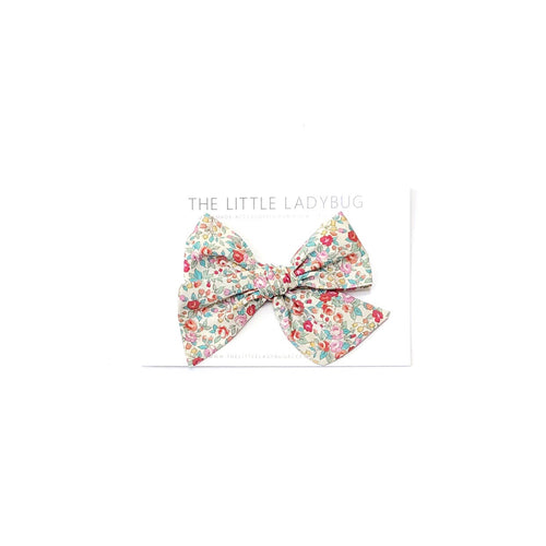 Vintage Summer Floral Hand-Tied Fabric Bow