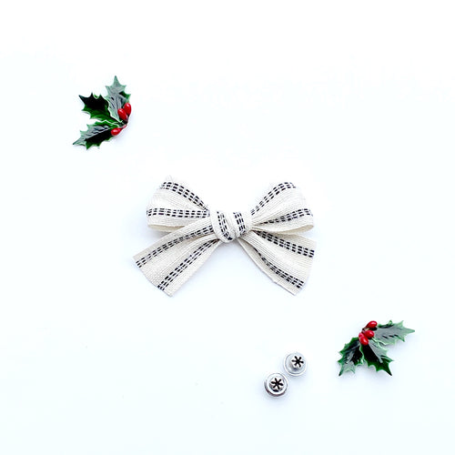 White Woven with Black Pinstripes Hand-Tied Ribbon Bow