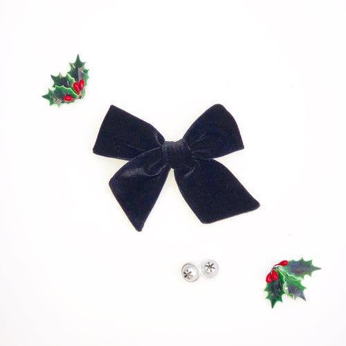 Black Velvet Hand-Tied Fabric Bow