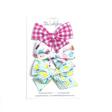 Set of Three Hand-Tied Fabric Bows in Berry Gingham, Movie Time and Blue-Green Stripes with Lemons