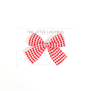 Red Gingham Hand-Tied Ribbon Bow