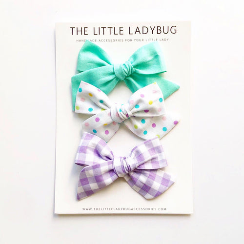 Set of Three Hand-Tied Fabric Bows in Paradise Blue, Pastel Polka Dots and Lavender Gingham