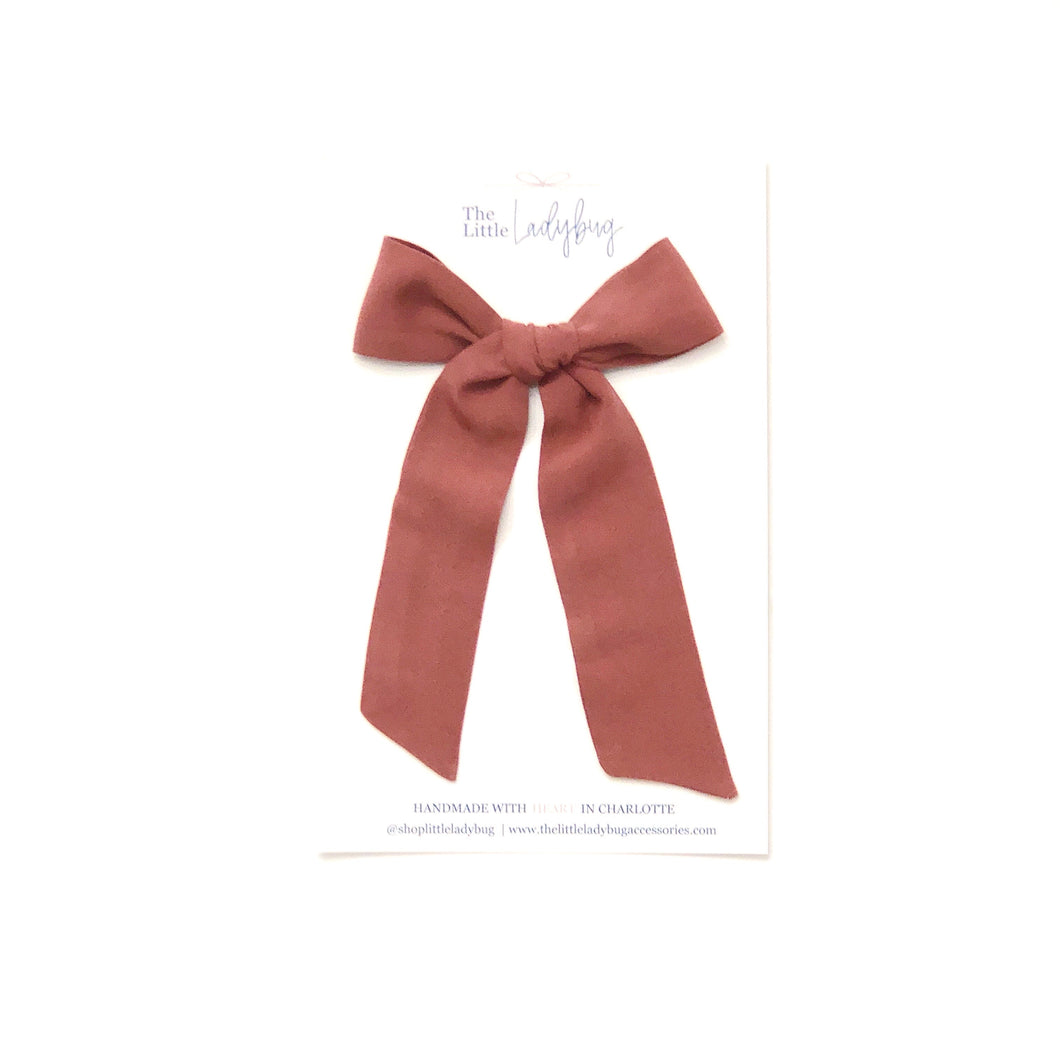 Rosewood Hand-Tied Fabric Lily Bow