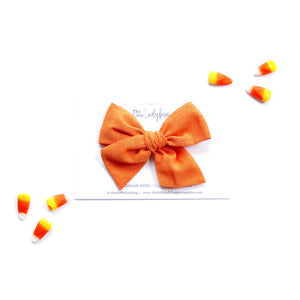 Pumpkin Orange Hand-Tied Fabric Bow