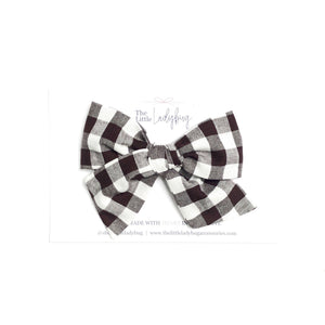 Black and White Gingham Hand-Tied Fabric Bow