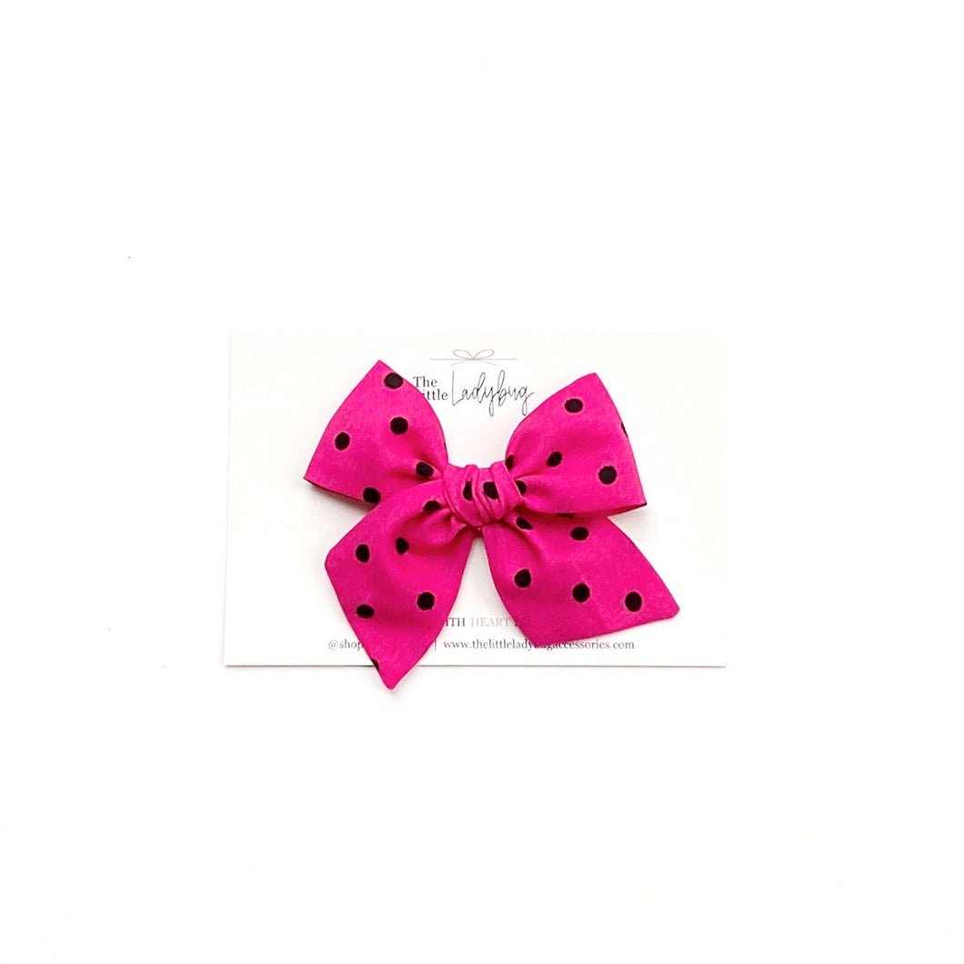 Raspberry with Black Polka Dots Hand-Tied Fabric Bow