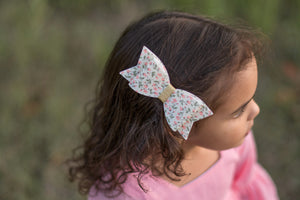Barely Yellow with Pink Floral Fabric Felt Sadie Bow