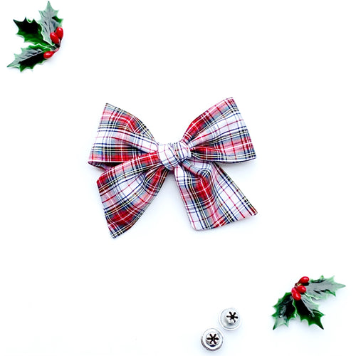 Holiday Plaid Hand-Tied Fabric Bow