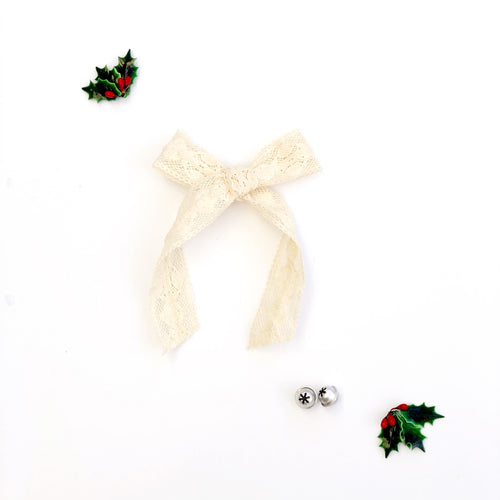 Ivory Crochet Cotton Hand-Tied Lily Bow