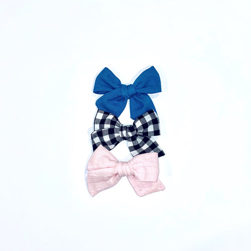 Set of Three Hand-Tied Olivia Bows in Chambray, Black Check and Pink Gauze