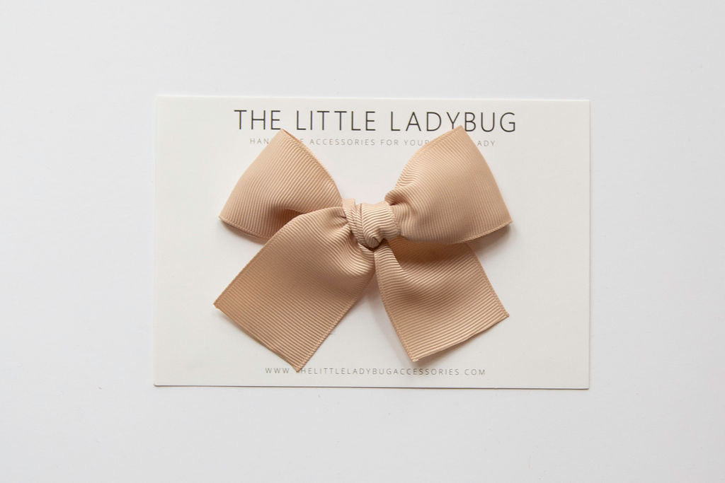 Tan Hand-Tied Ribbon Bow