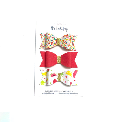 Set of Three Fabric Wool Felt Sadie Bows in Bright Dancing Kites, Strawberry and Summer Fruits