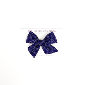 Navy Blue with Stars Hand-Tied Fabric Bow