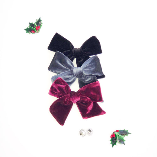 Set of Three Hand-Tied Fabric Bows in Black Velvet, Burgundy Velvet and Midnight Blue Velvet