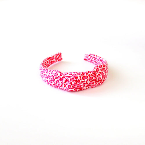 Bright Pink Cheetah Hand-Knotted Headband