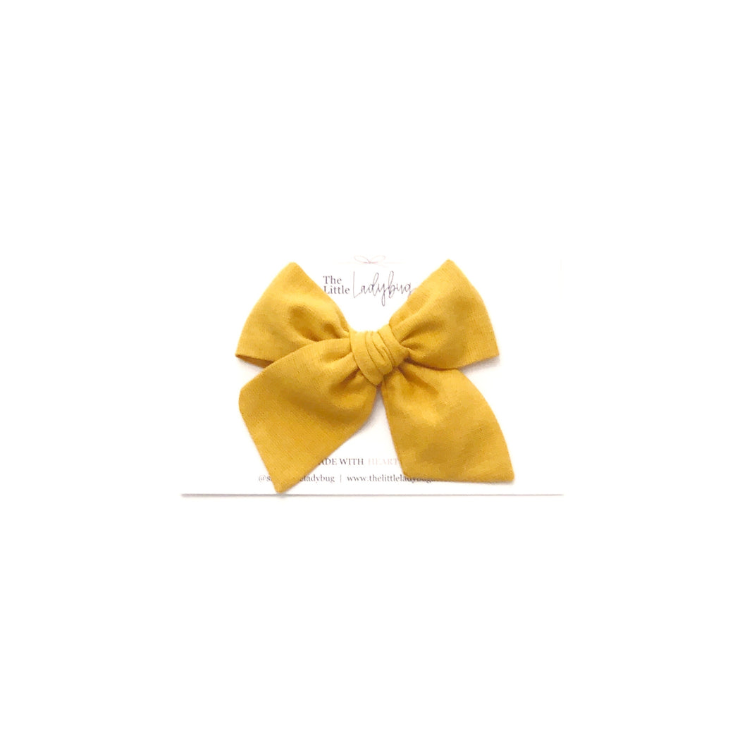 Butternut Yellow Hand-Tied Fabric Bow