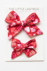 Red with Multicolor Hearts Hand-Tied Fabric Bow