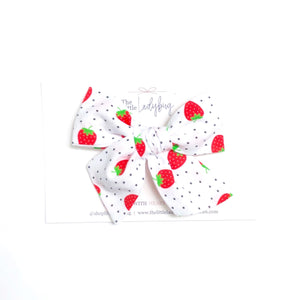 Strawberry Polka Dot Hand-Tied Fabric Bow