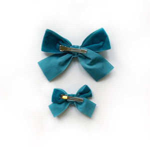 Creamy Blue Check Hand-Tied Fabric Bow