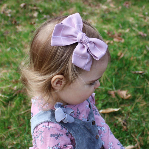 Mauve with White Pinstripes Hand-Tied Olivia Bow