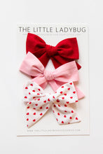 Set of Three Valentine's Fabric Bows in Red, Bubblegum Pink, and Red Hearts