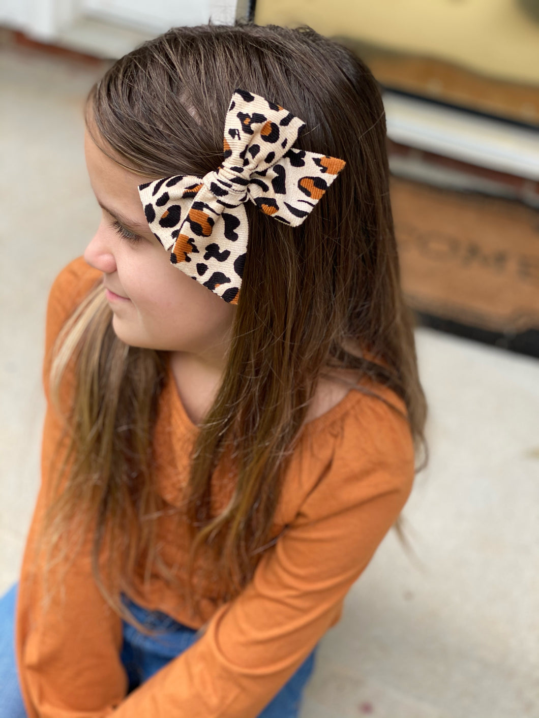 Leopard Corduroy Hand-Tied Fabric Bow